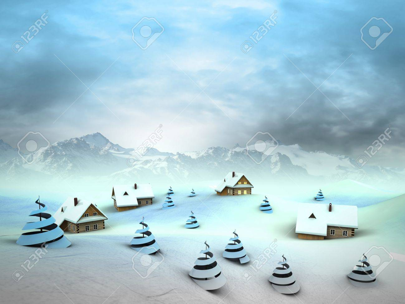 Winter village perspective with high mountain landscape illustration Stock Photo - 18827364