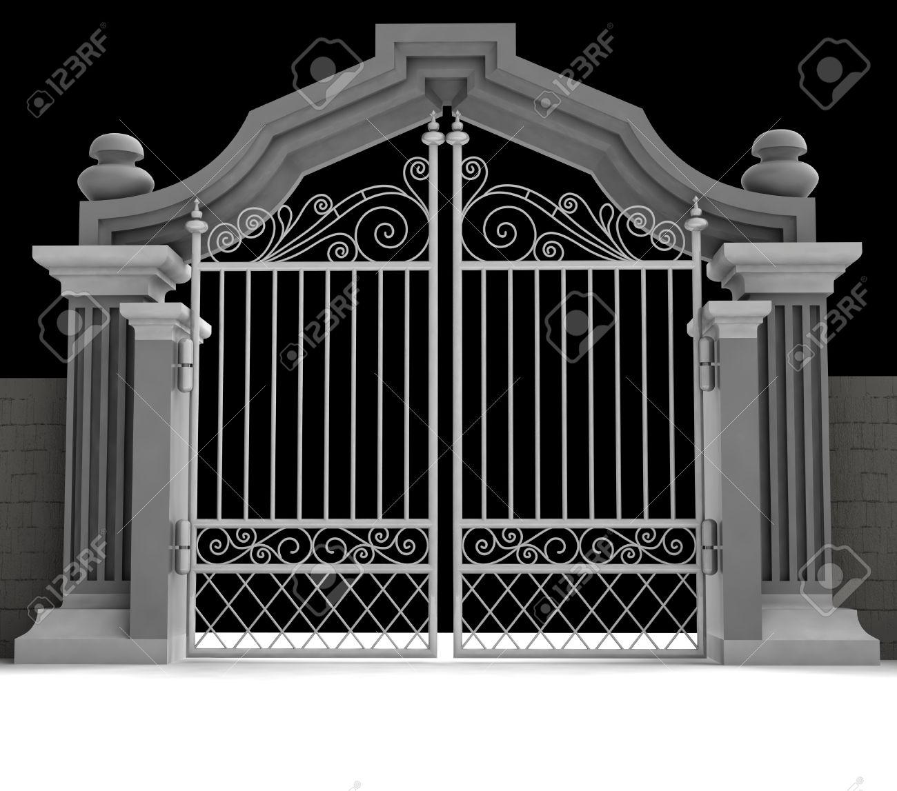Friedhof Tor Mit Metallischen Zaun In Abbildung Mitternacht