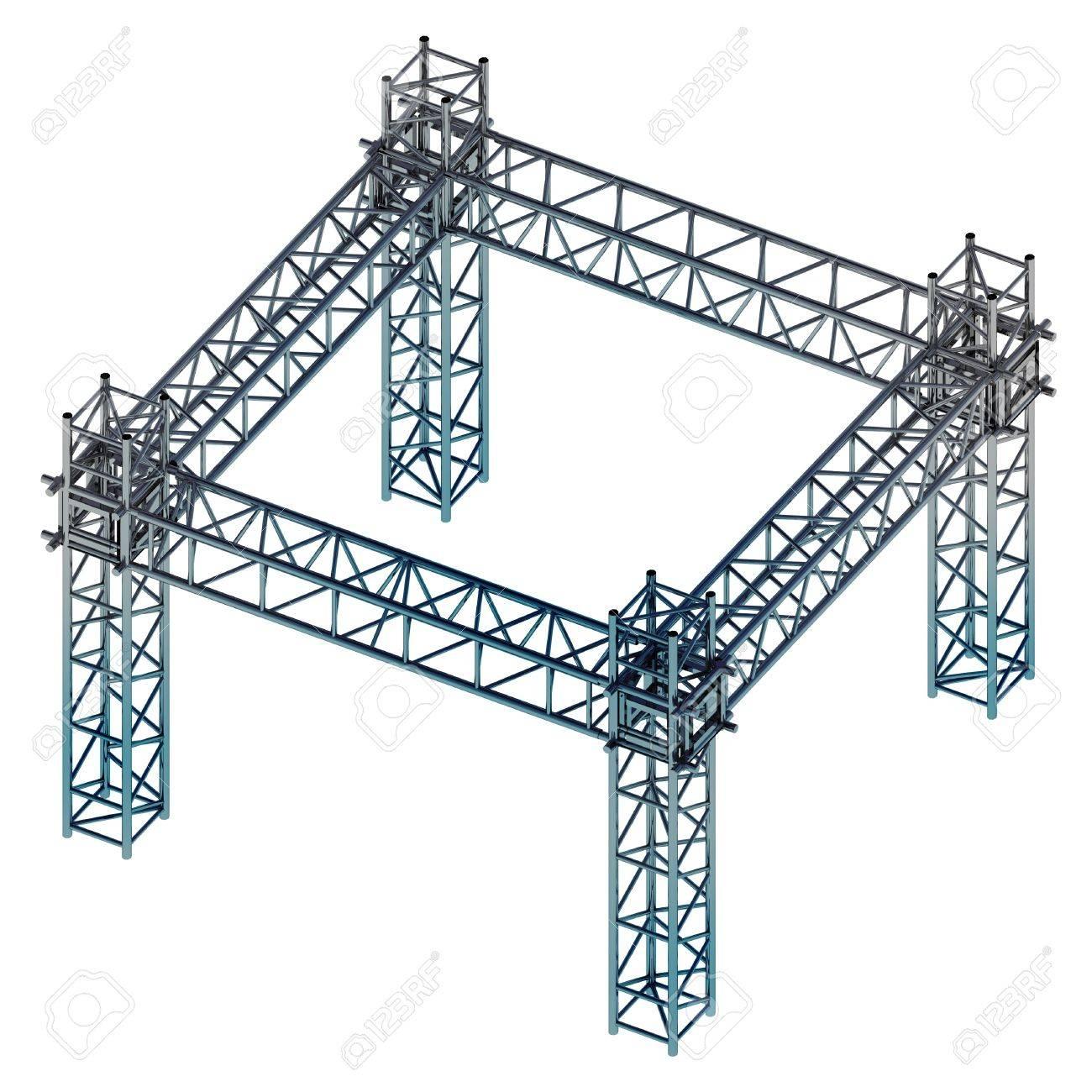 Isolierten Eisen Blau Glänzende Konstruktion Rahmen Isometrische ...