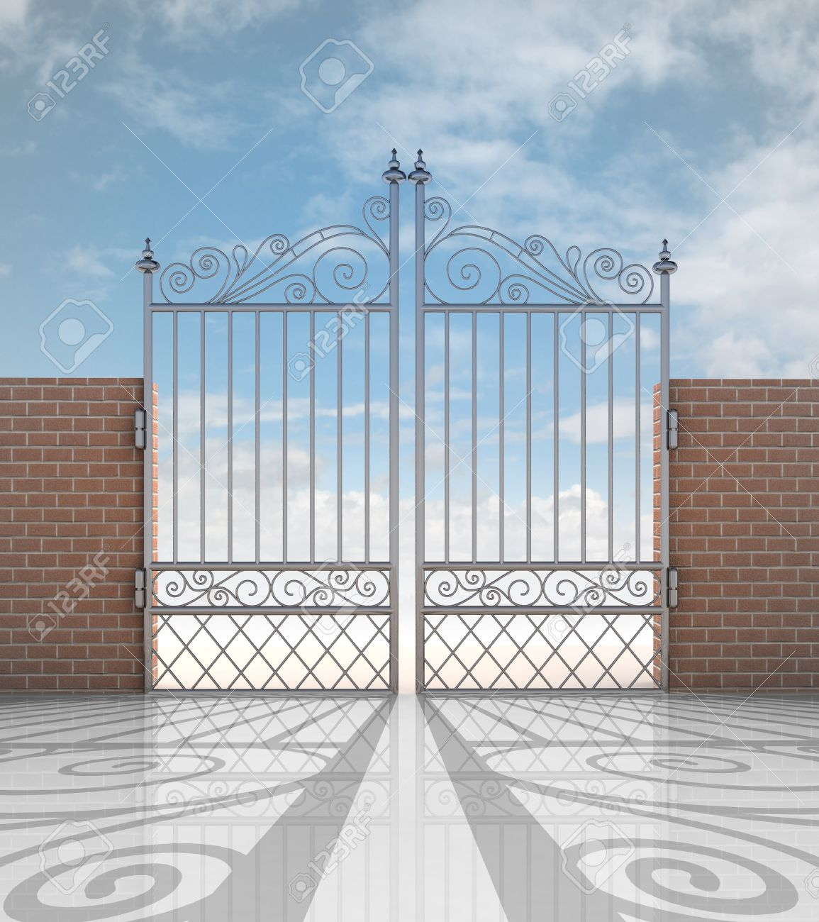 closed iron gate in strong brick wall with shadow illustration Stock Photo - 19250513