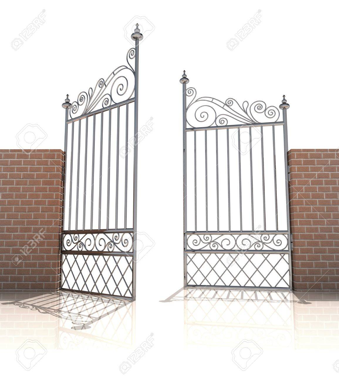 iron gate in strong brick wall on white background illustration Stock Photo - 19629796