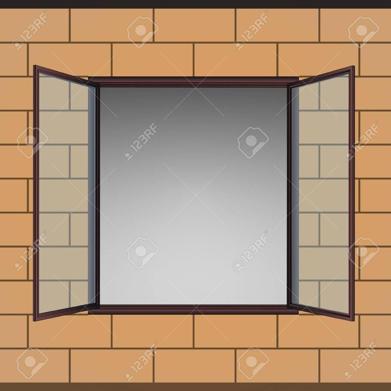 opened window in brick facade vector drawing illustration Stock Vector - 21015592