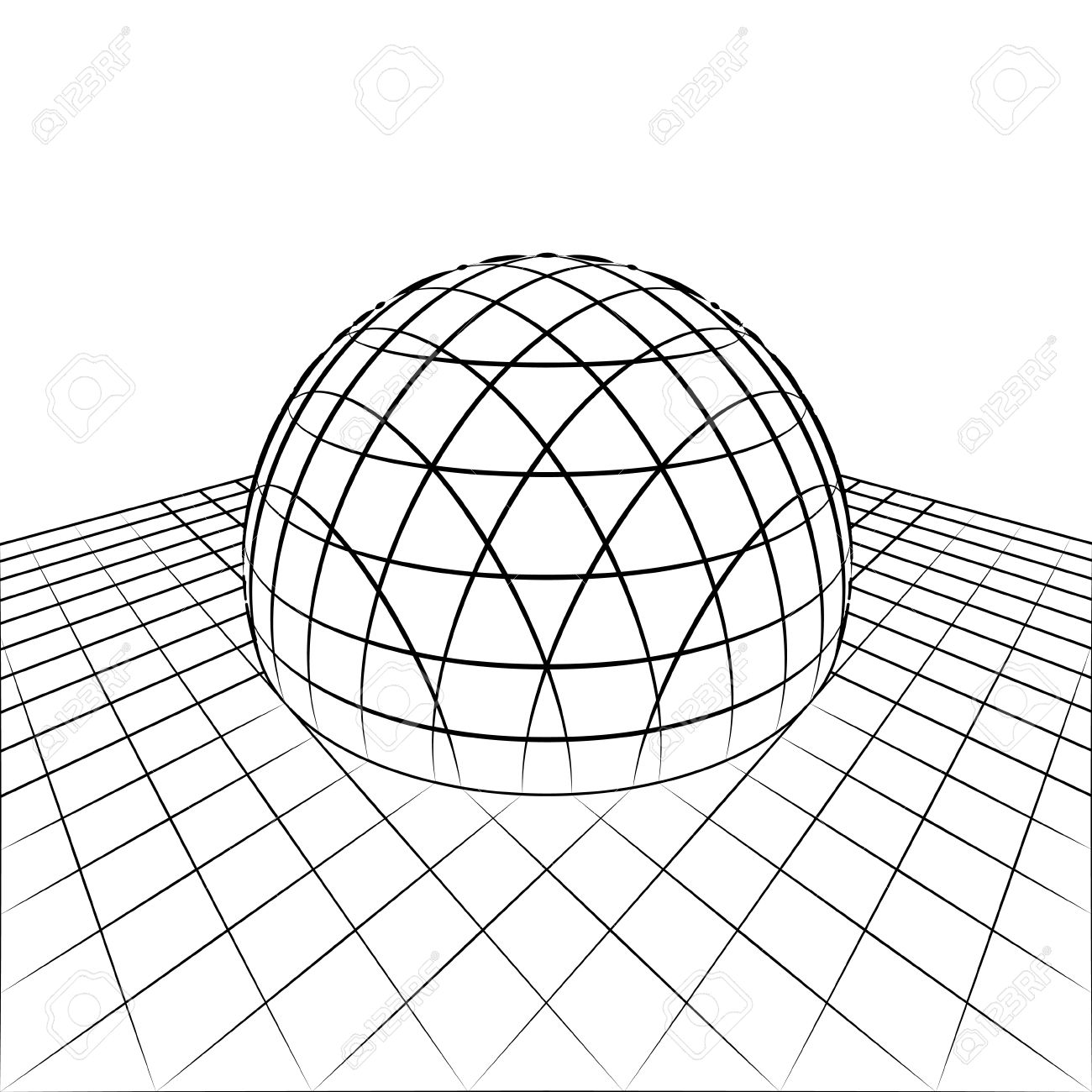 Demi Sphere En Ligne De Quadrillage Perspective Dessin Illustration