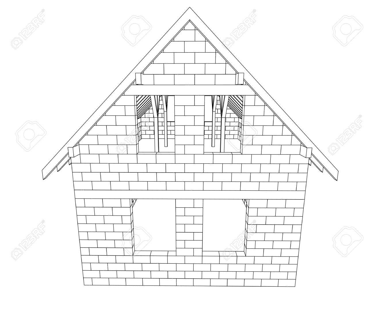 bricked house construction line drawing vector illustration Stock Illustration - 21228863