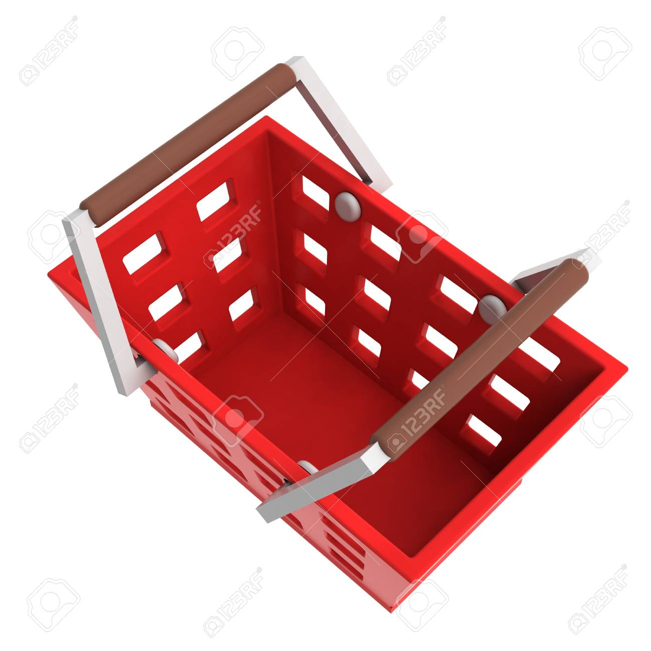 red shopping basket upper view isolated illustration Stock Illustration - 21228454