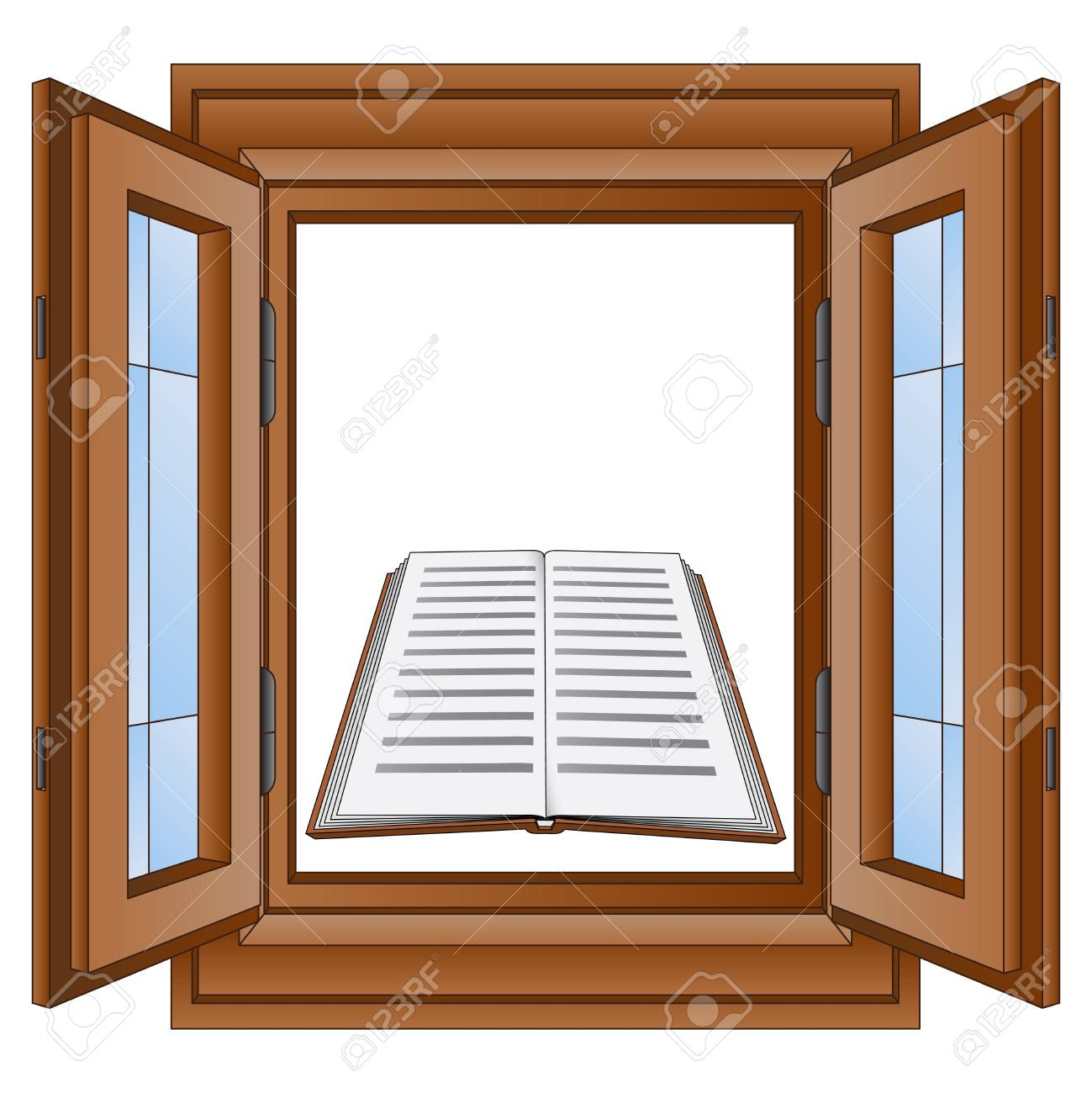 education book in window wooden frame vector illustration Stock Photo - 21227319