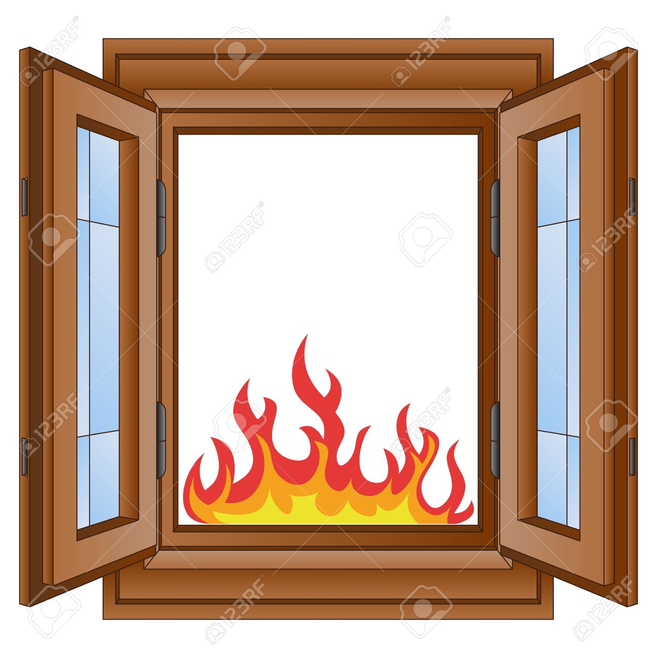 open fire and flames in window wooded frame vector illustration rh 123rf com