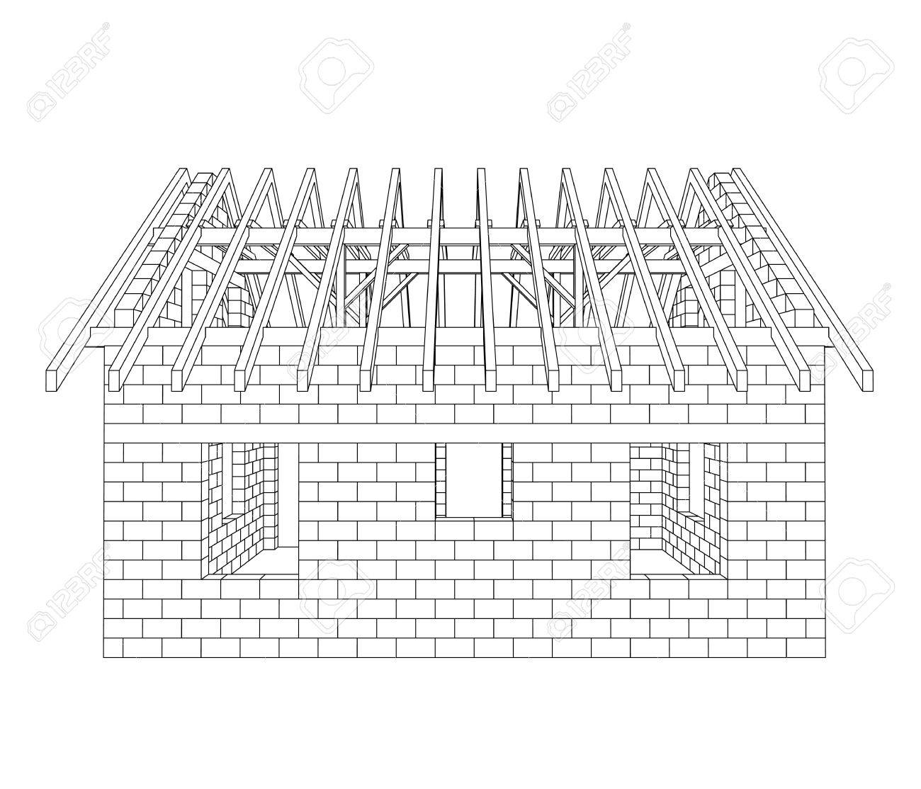 House Construction Line Drawing Vector Illustration Royalty Free ...