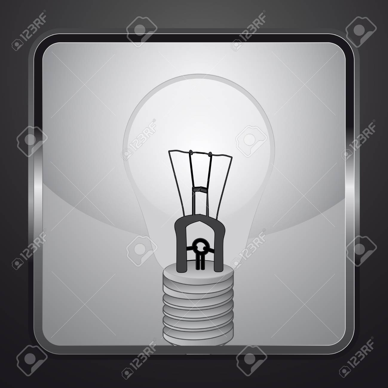 electric bulb on square button vector illustration Stock Vector - 21228885