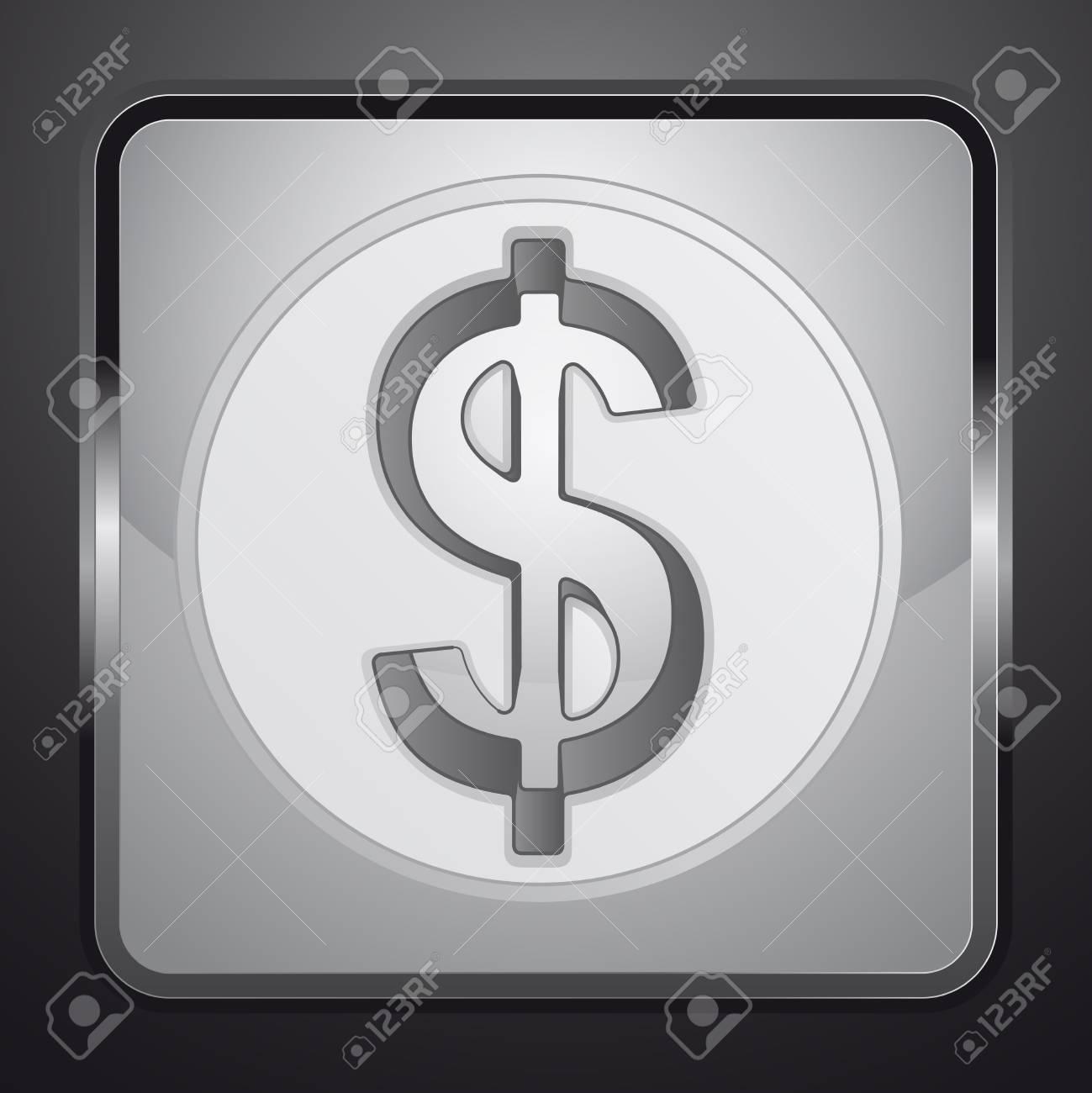 silver american dollar coin square button vector illustration Stock Vector - 21228887
