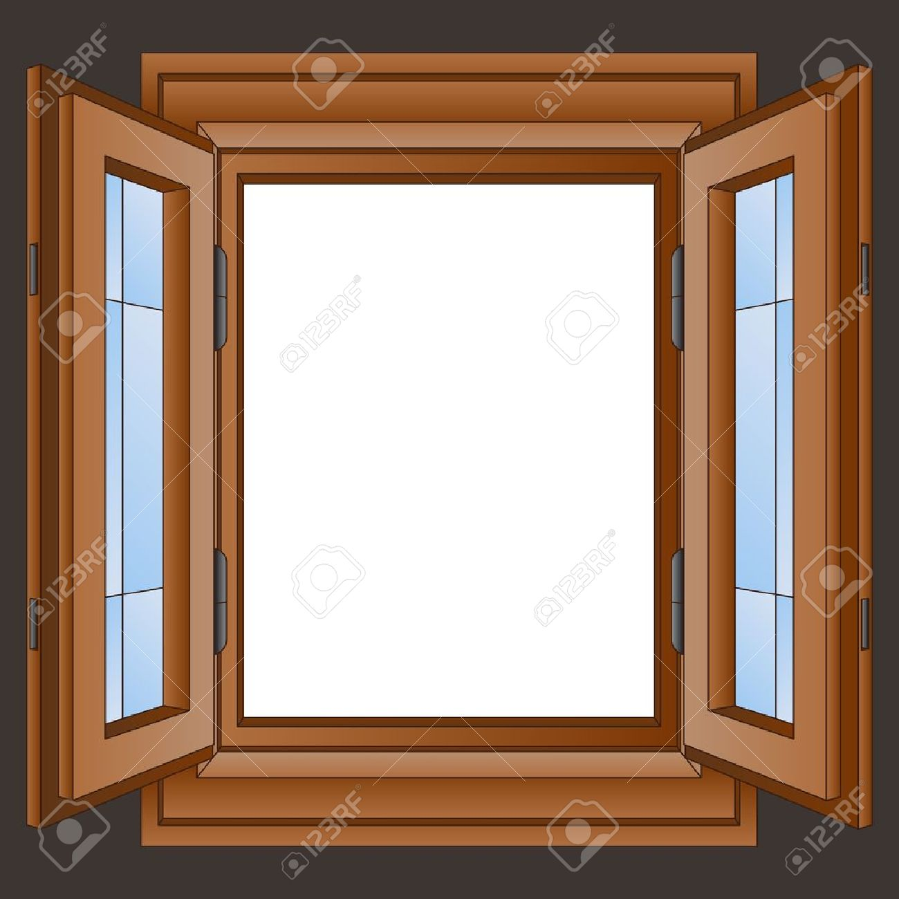 House window frame - Beautiful House Window Reflection Open Wooden Window Frame In The Wall Vector Illustration