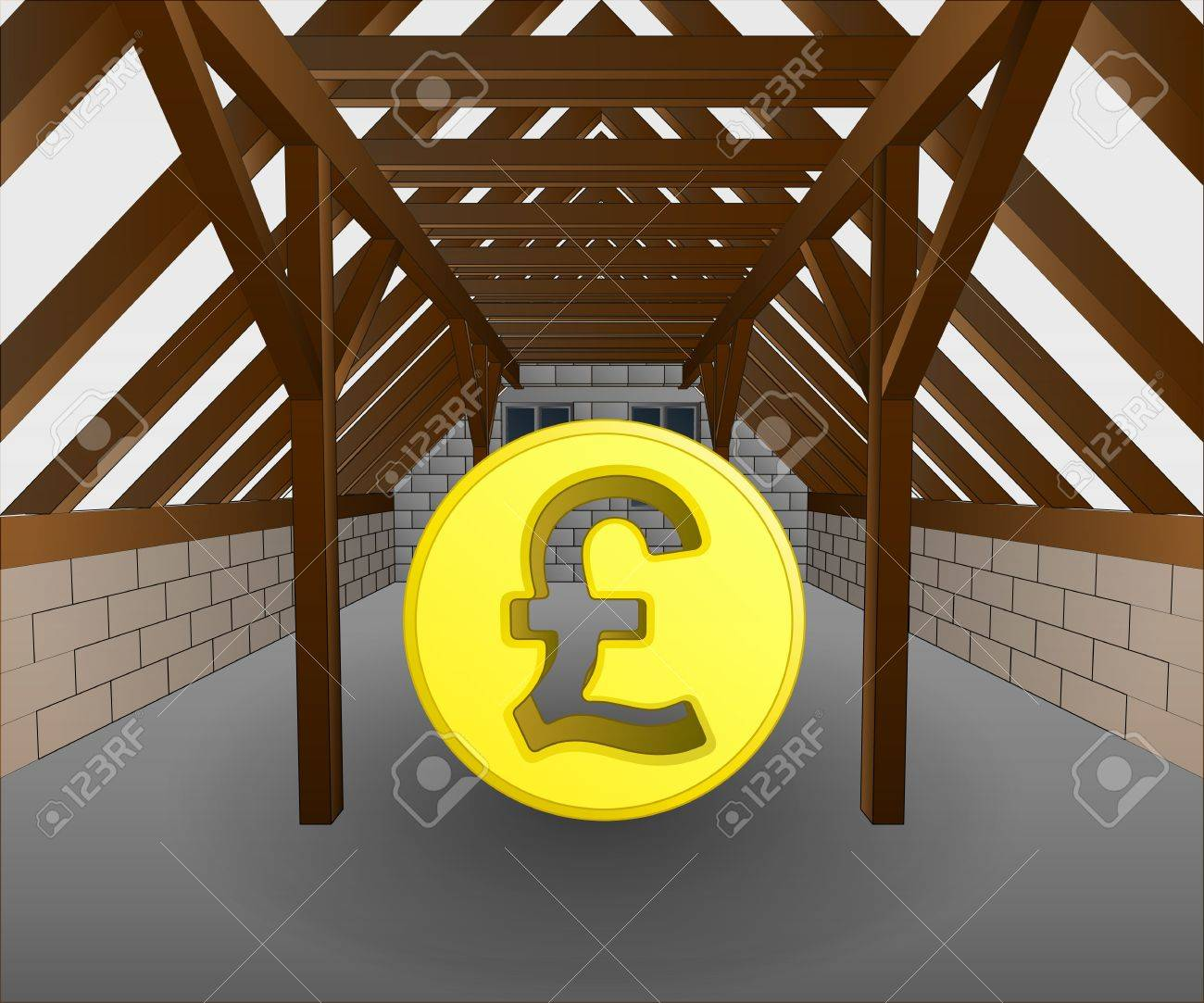 attic under construction with pound coin vector illustration Stock Vector - 21659639