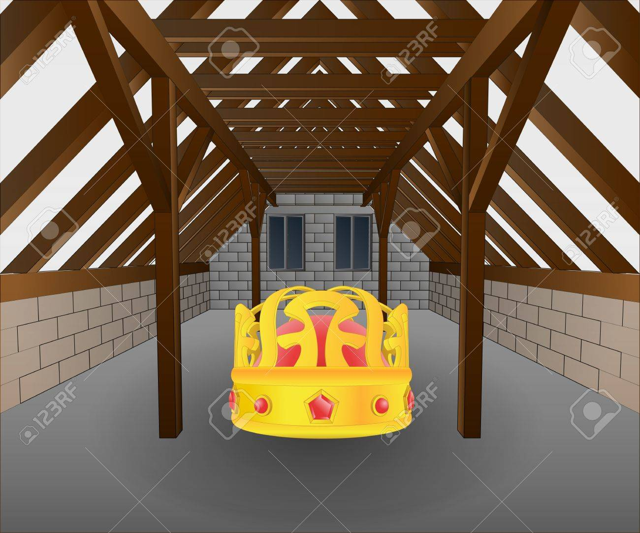 attic under construction with lost crown vector illustration Stock Vector - 21659641
