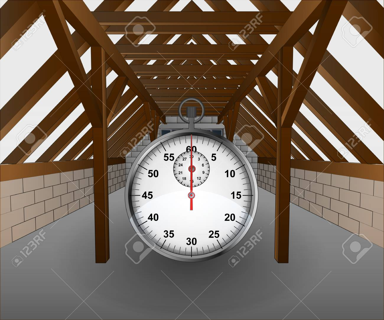 attic under construction with stopwatch illustration Stock Vector - 21659651
