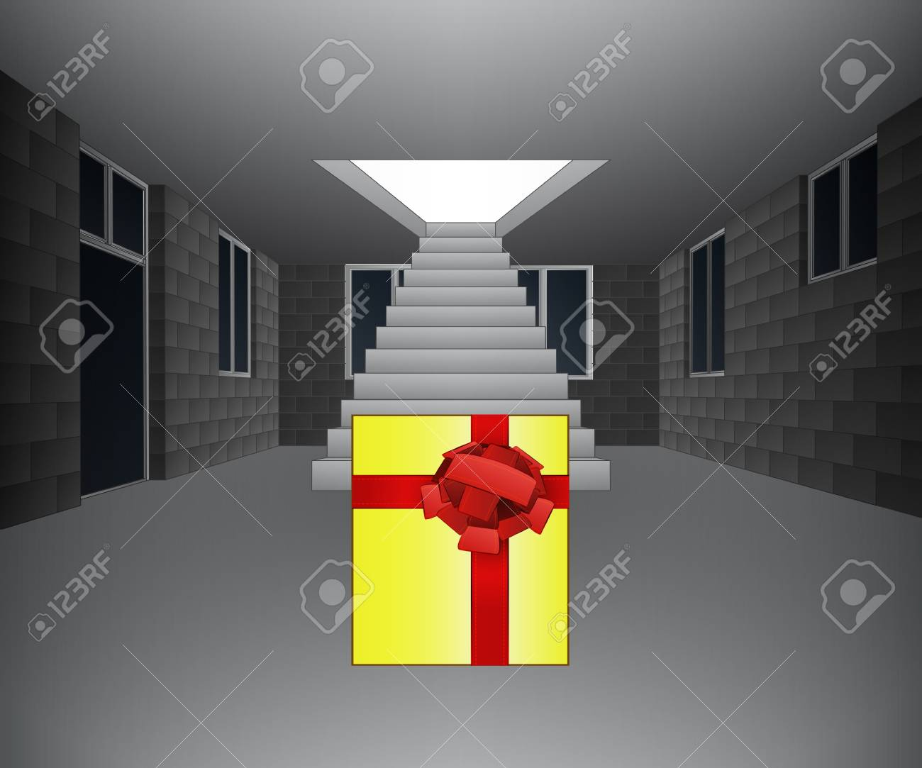 house interior with gift in front of staircase illustration Stock Vector - 21659673