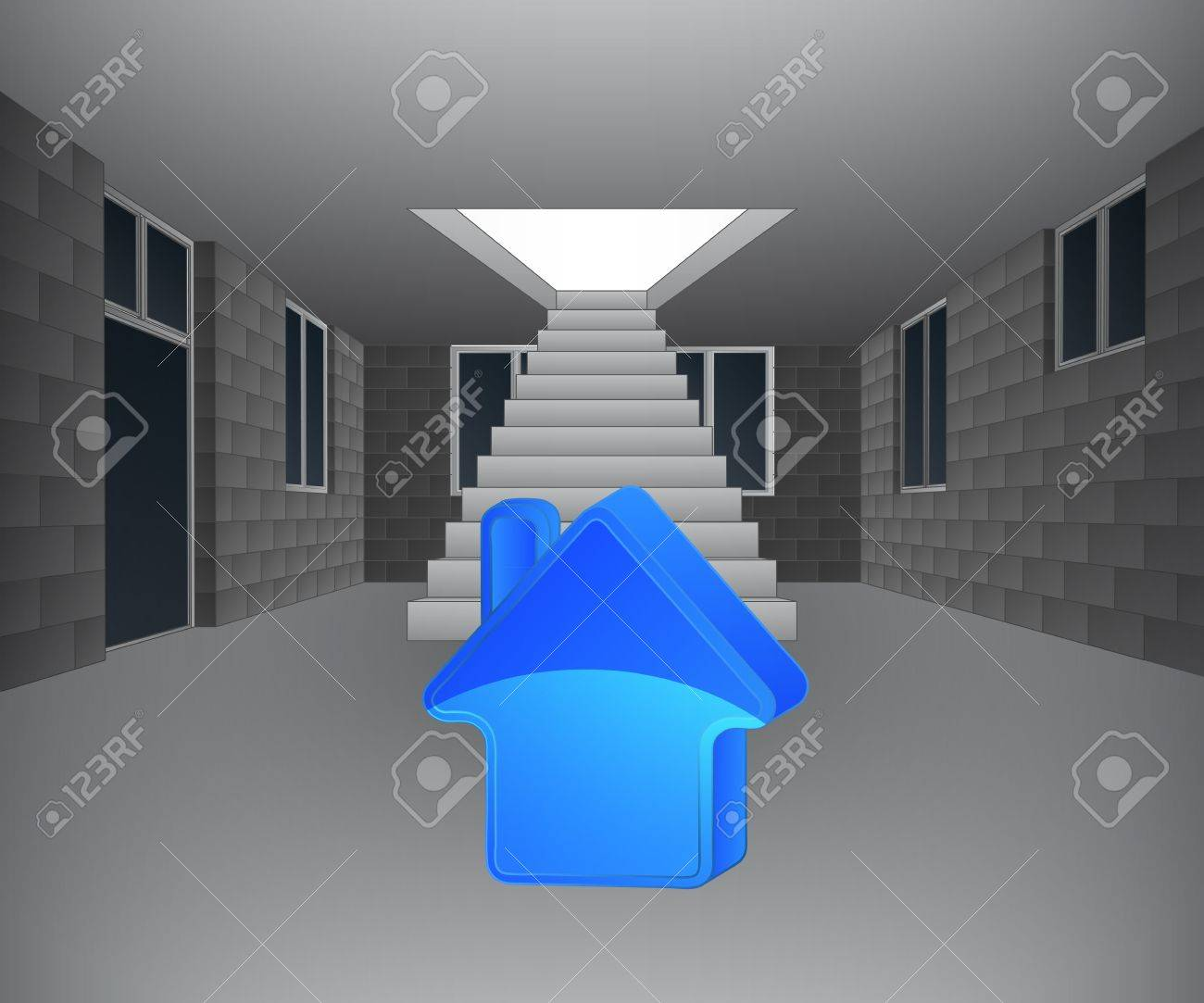house interior with house icon in front of staircase illustration Stock Vector - 21659677