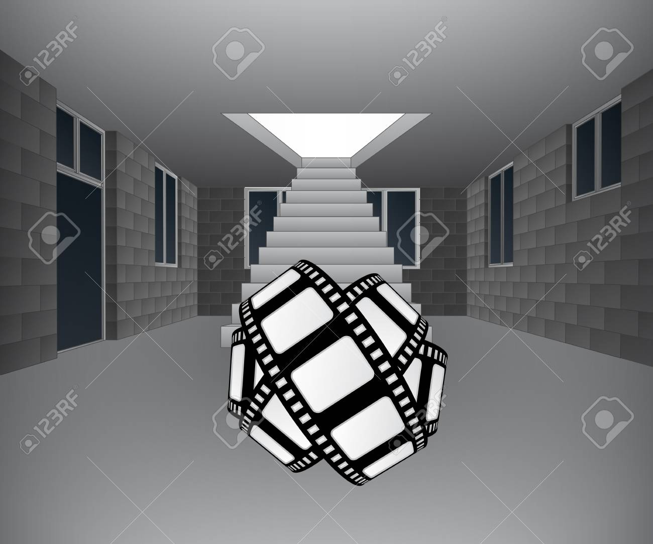 house interior with tape in front of staircase Stock Vector - 21659689