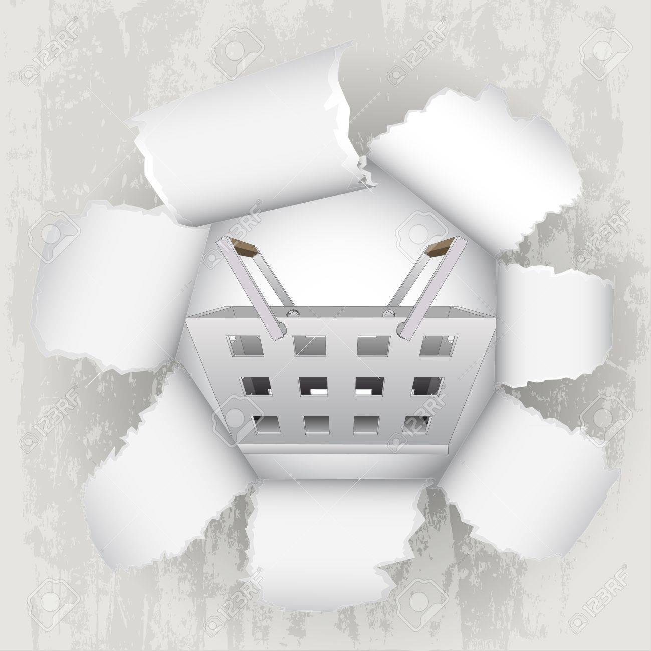 torn paper revelation of shopping basket Stock Vector - 21660249