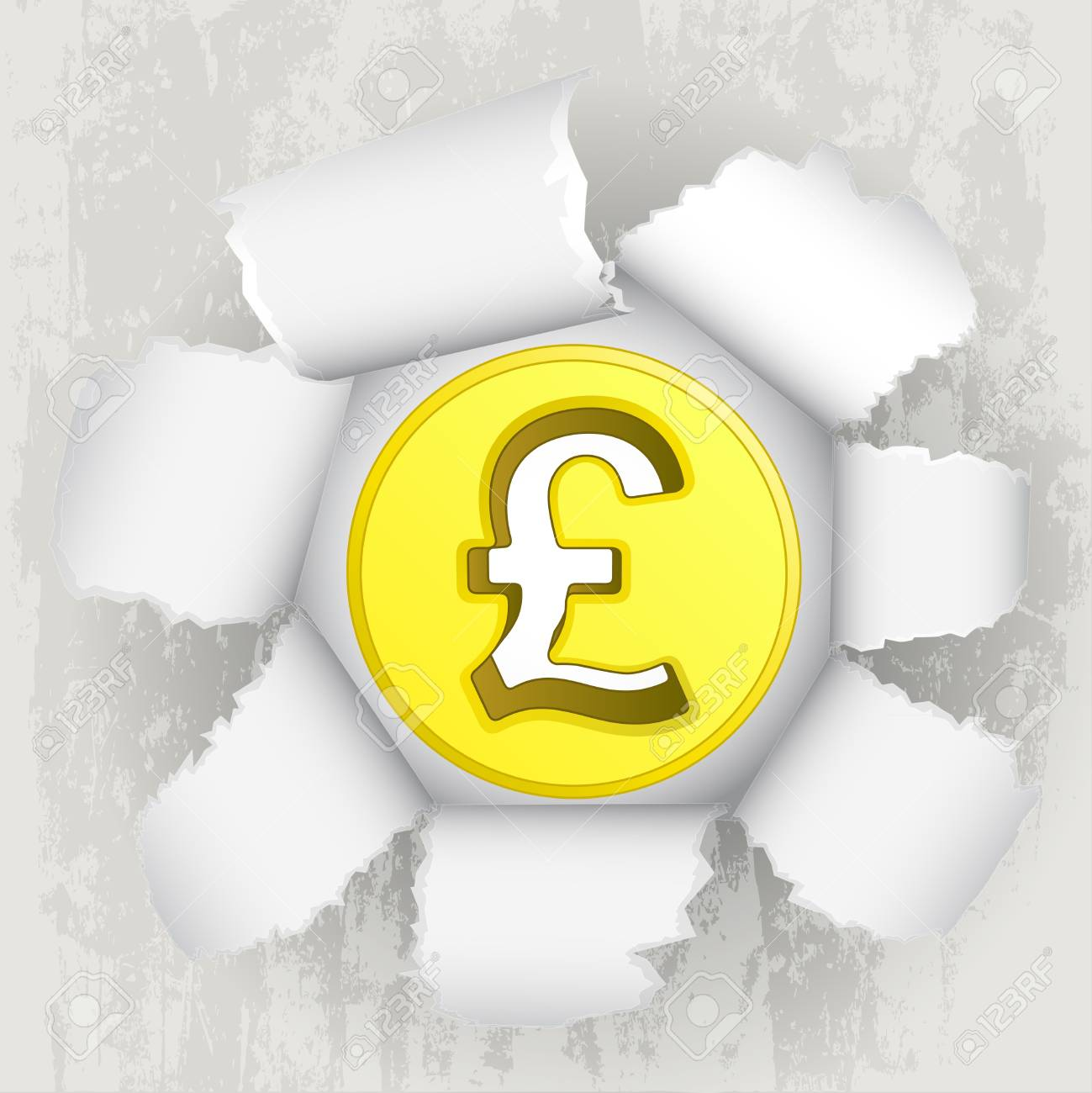 torn paper revelation of golden pound coin Stock Vector - 21660266