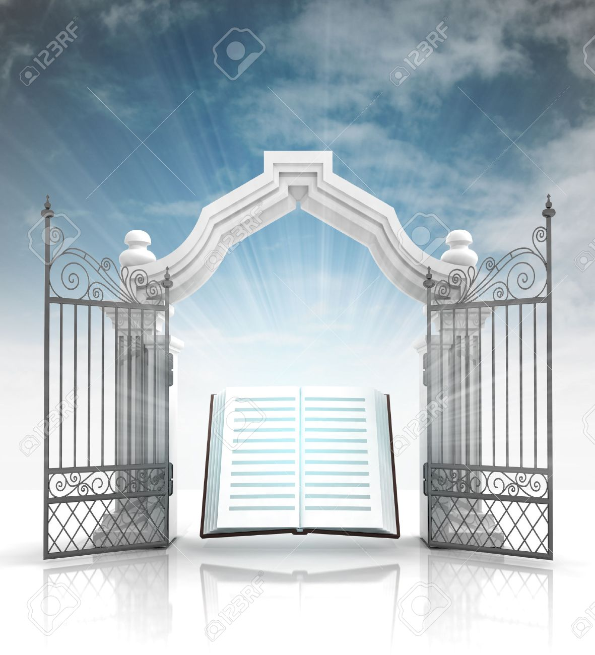 open baroque gate with holy bible and sky illustration stock photo