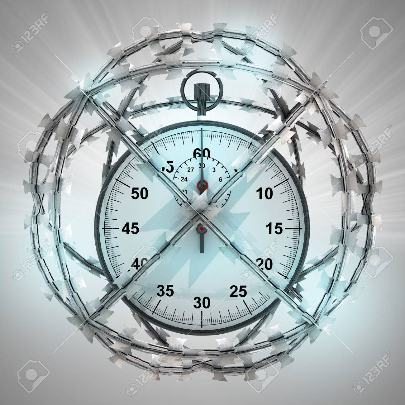 Stopwatch In Barbed Wire Sphere With Flare Illustration Stock Photo ...