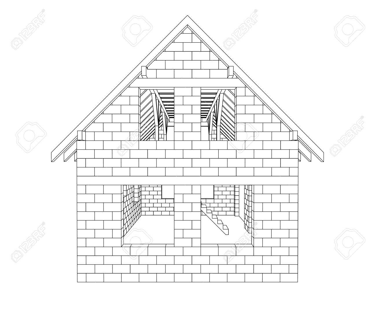 Gable House Construction Line Drawing Vector Illustration Royalty ...