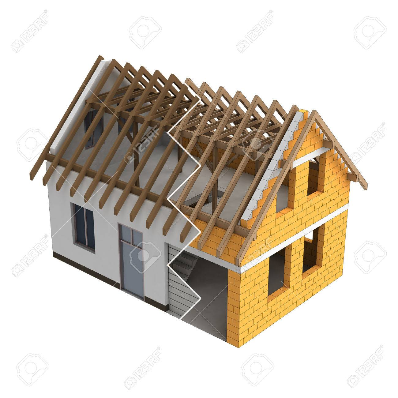 Wooden house wooden construction house design zigzag transition illustration stock photo