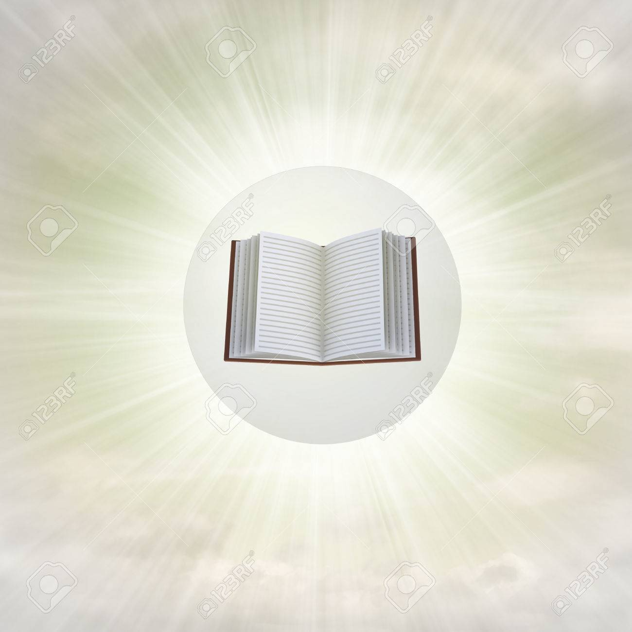 open book in glossy bubble in the air with flare illustration Stock Photo - 22741719