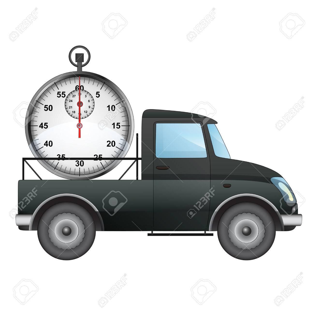 Isolato di pick up auto sul tempo di consegna di disegno vettoriale illustrazione archivio fotografico