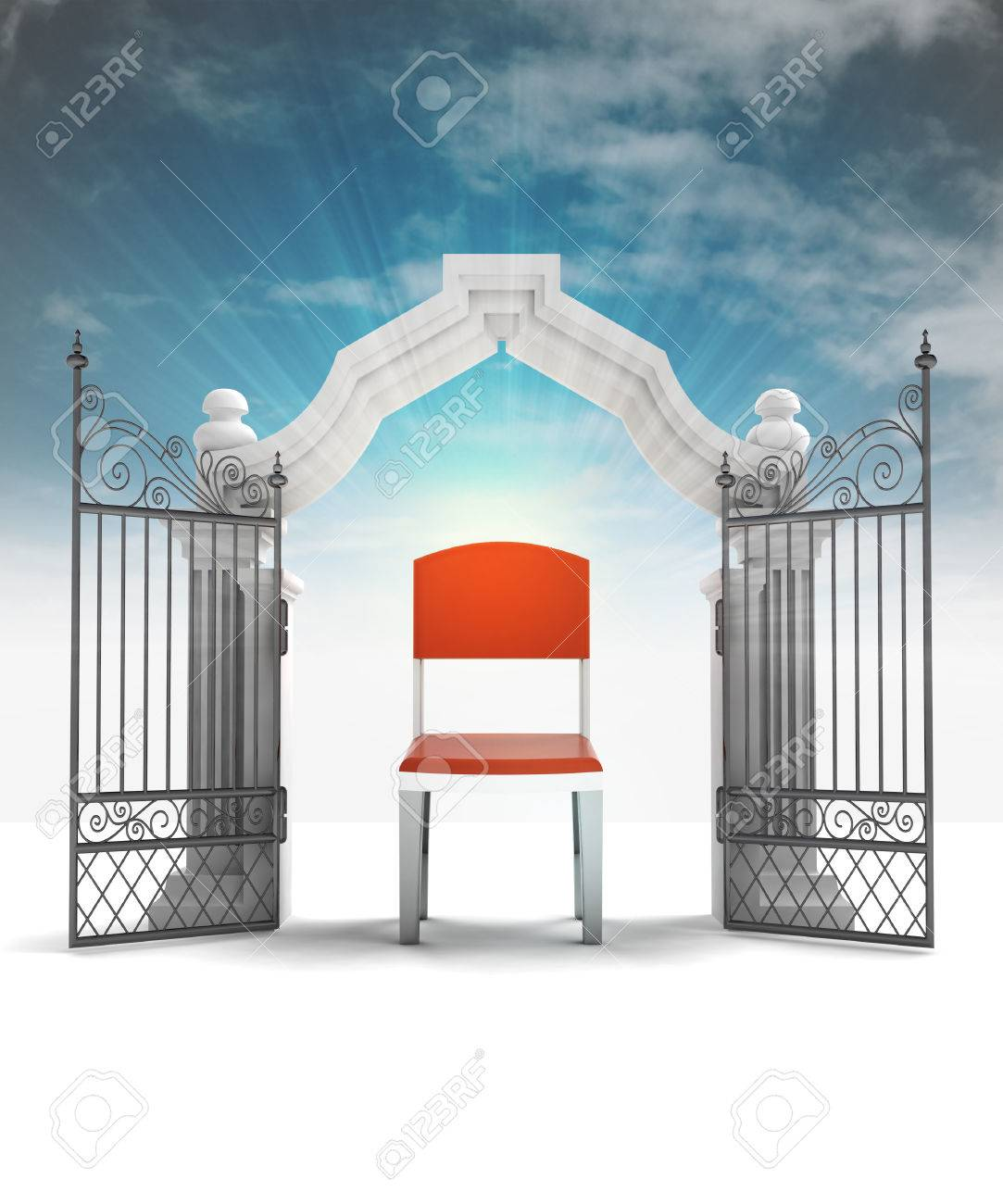 free seat on chair and  heavenly gate with sky flare illustration Stock Illustration - 22902599