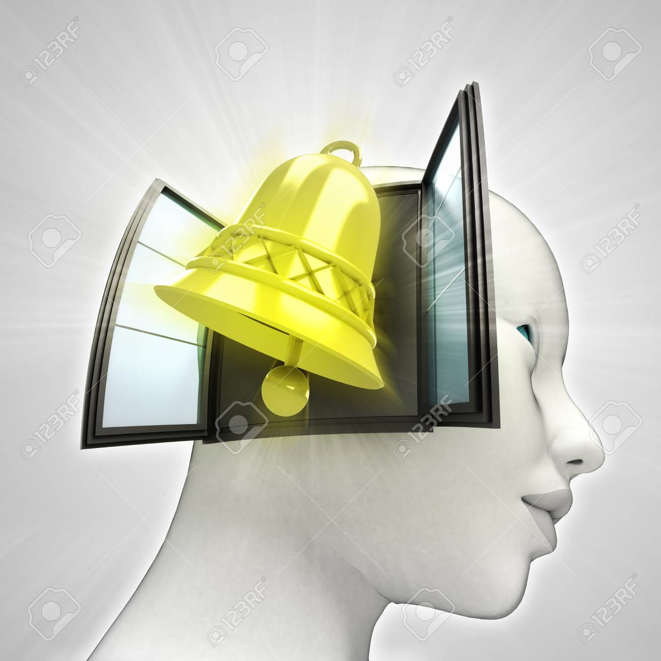 golden bell alarm coming out or in human head through window concept illustration Stock Photo - 22908292