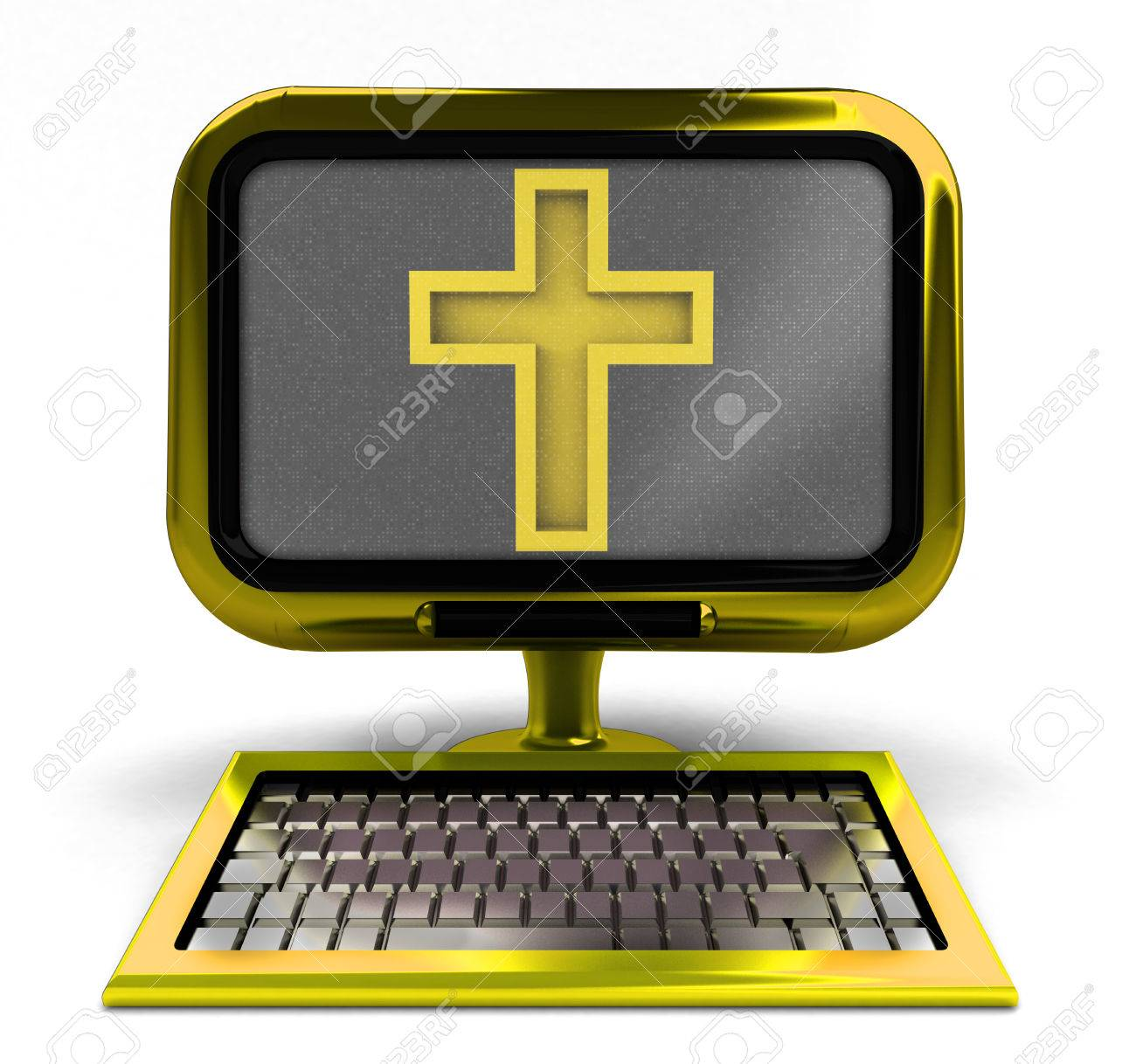 22908329-golden-computer-with-holy-cross