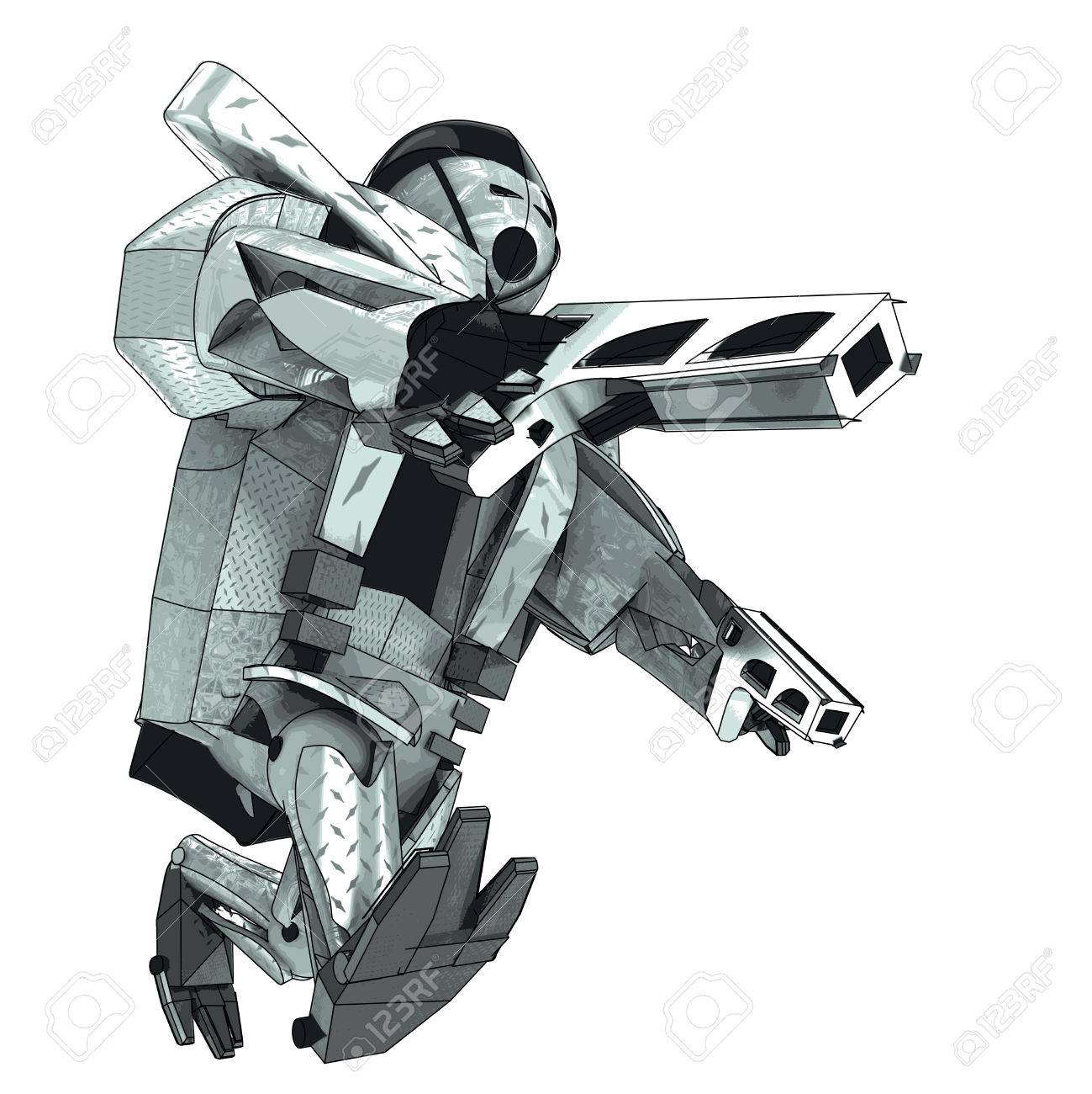 isolated walking armored robot warrior vector 3D model my own