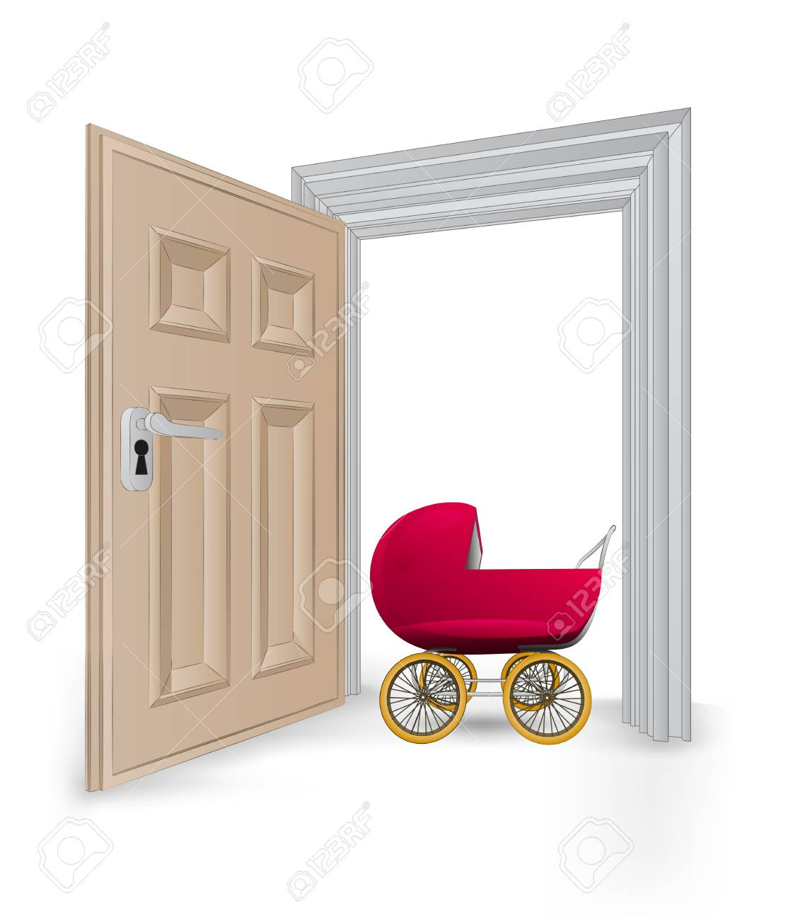 open isolated doorway frame with baby carriage vector illustration Stock Vector - 24668216