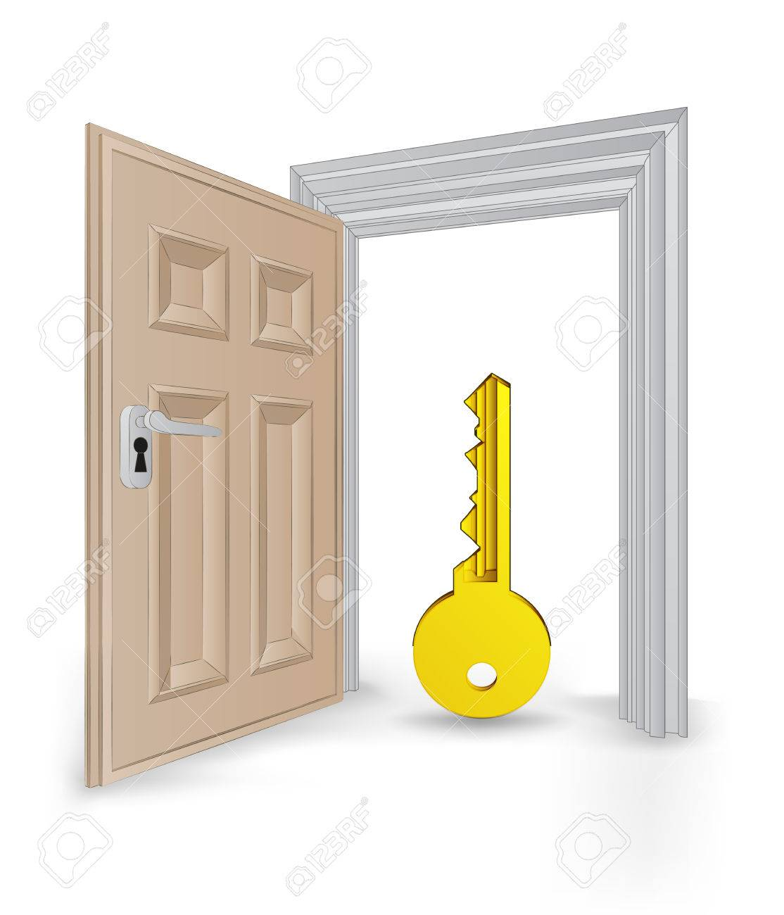 Open Isolated Doorway Frame With Golden Key Vector Illustration ...
