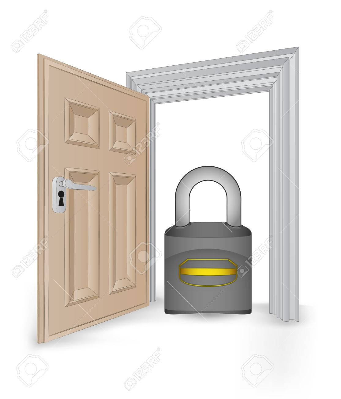 open isolated doorway frame with security padlock vector illustration Stock Vector - 24668180