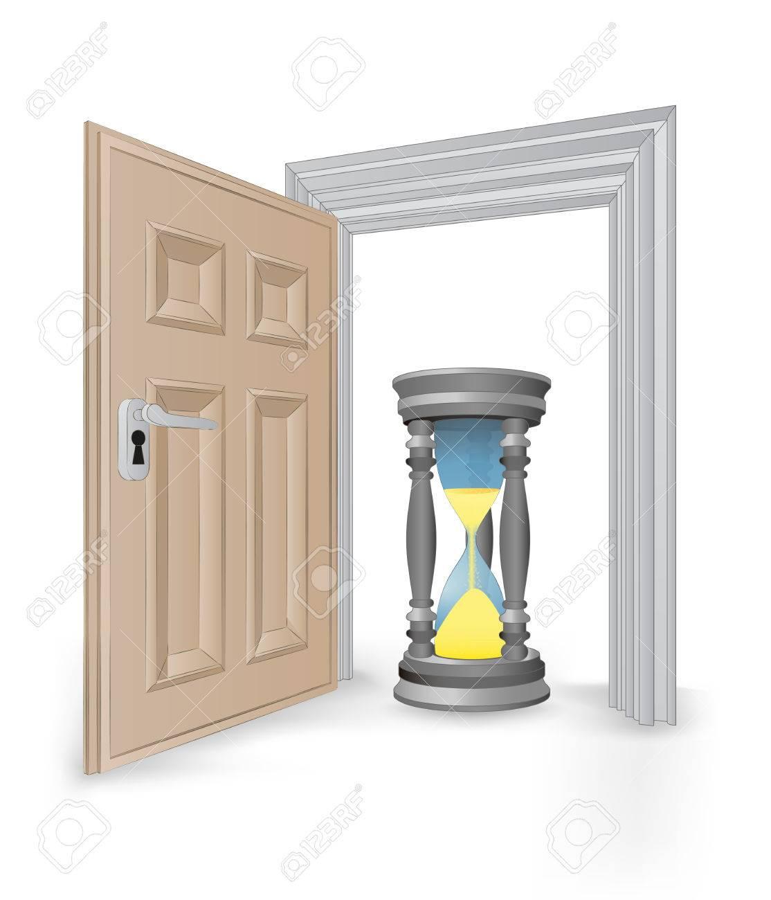 open isolated doorway frame with running hourglass vector illustration Stock Vector - 24668115
