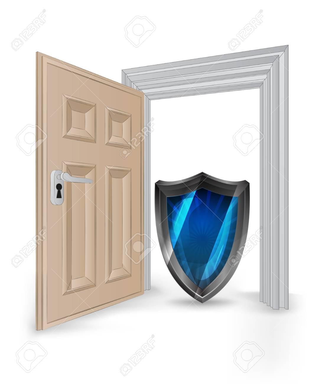 Abra Aislado Marco Puerta Con Escudo Ilustración Vectorial Seguridad ...