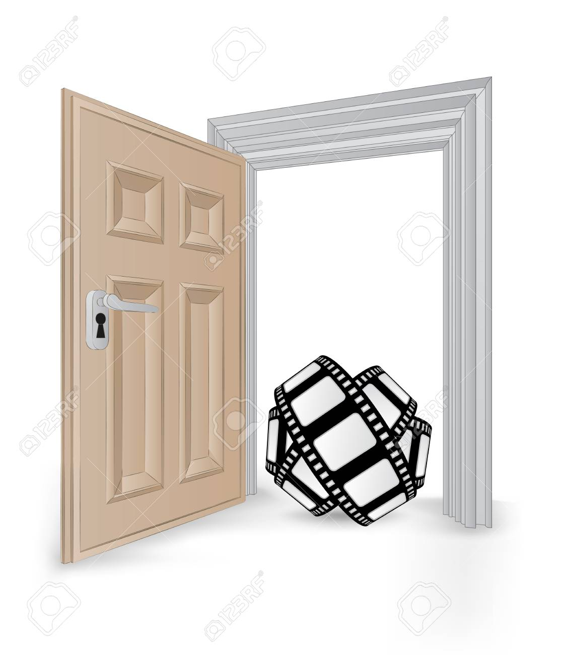 open isolated doorway frame with movie tape vector illustration Stock Vector - 24668119