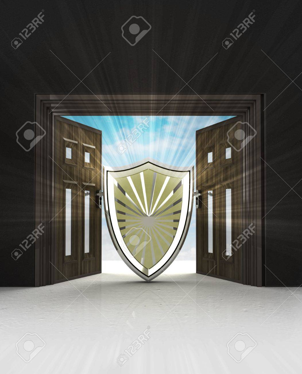 security and defence shield in doorway space with sky flare illustration Stock Illustration - 24667990