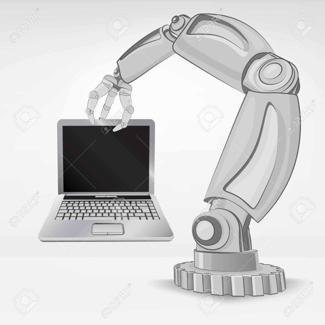 new laptop hold by automated robotic hand vector illustration Stock Vector - 26640962