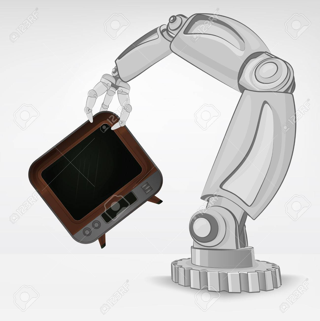 television channel hold by automated robotic hand vector illustration Stock Vector - 26641050