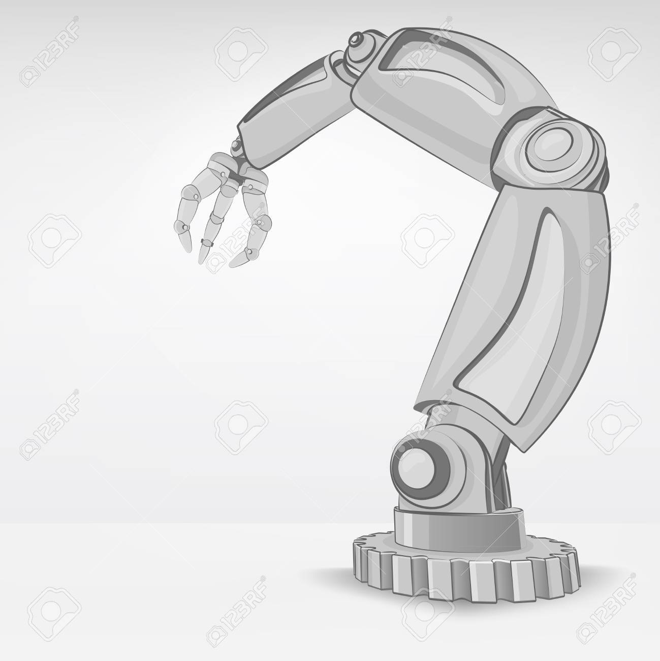 cybernetic robotic hand used for automated manufacture vector illustration Stock Vector - 26641047