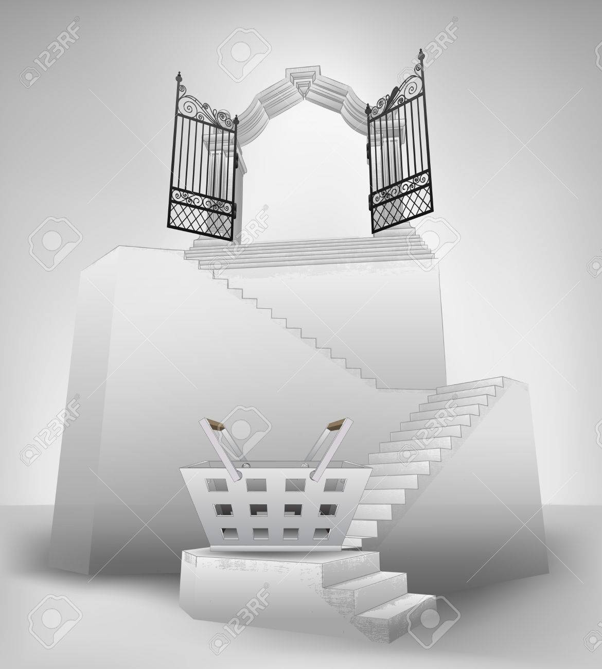 Shopping Basket On Stairway With Entrance Top Concept Vector Illustration  Stock Vector   26645196