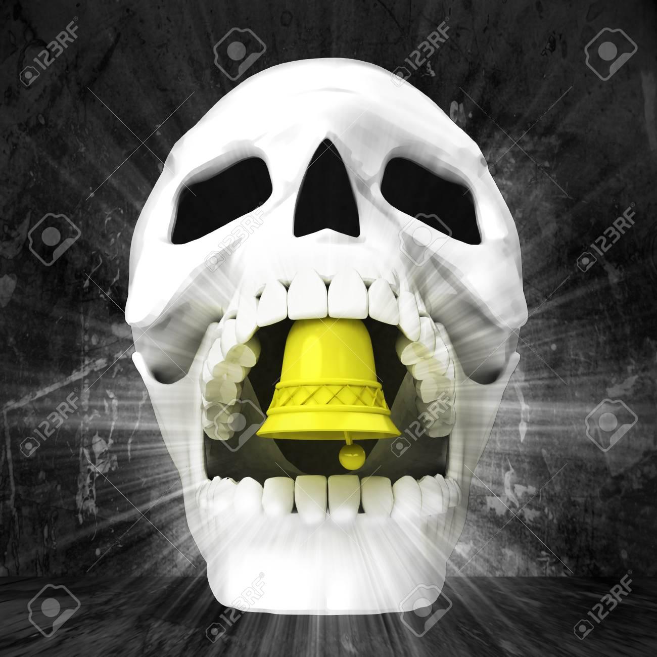 human skull with in jaws on grunge illustration Stock Illustration - 26652385