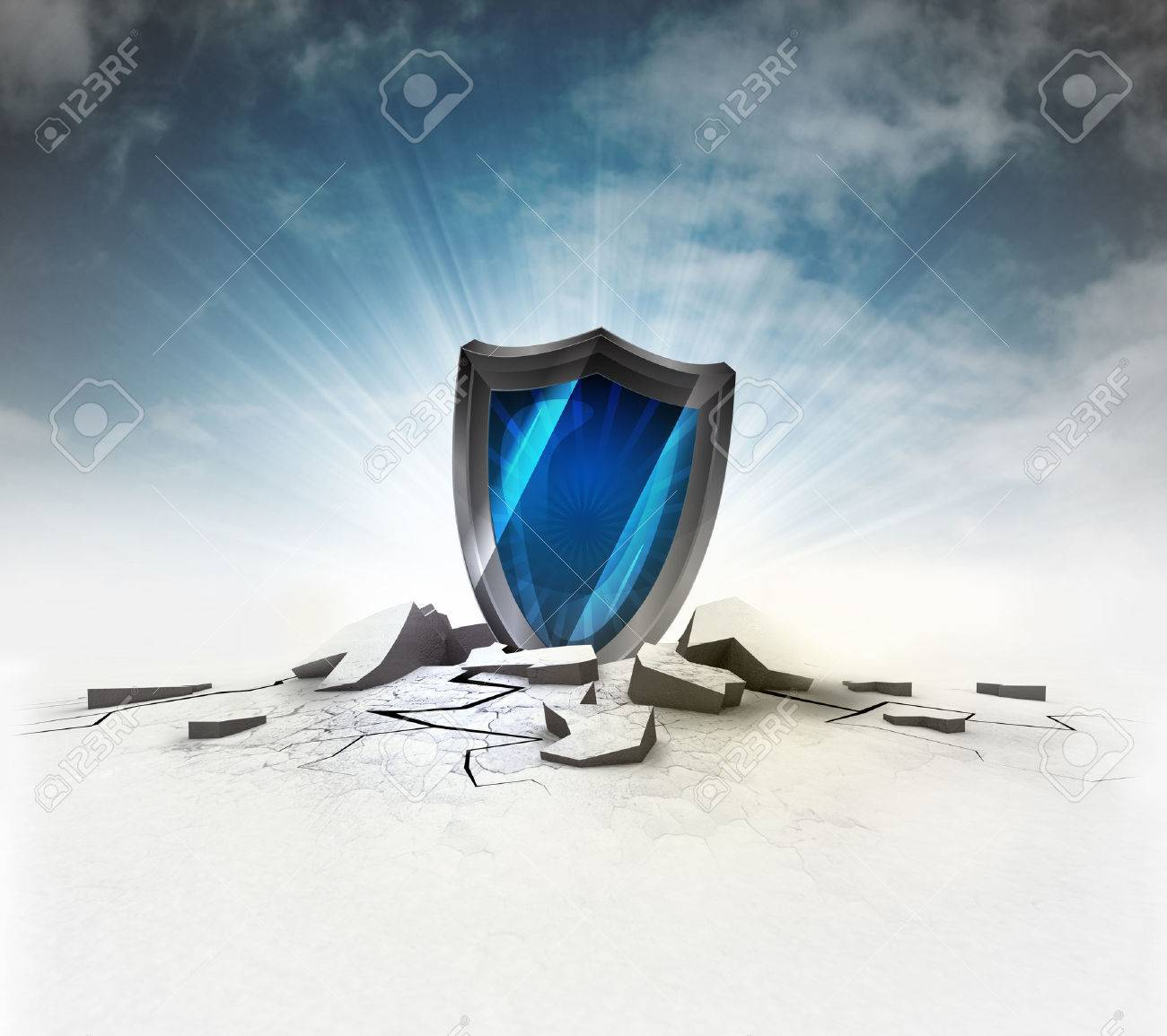 security shield stuck into ground with flare and sky illustration - 27953885