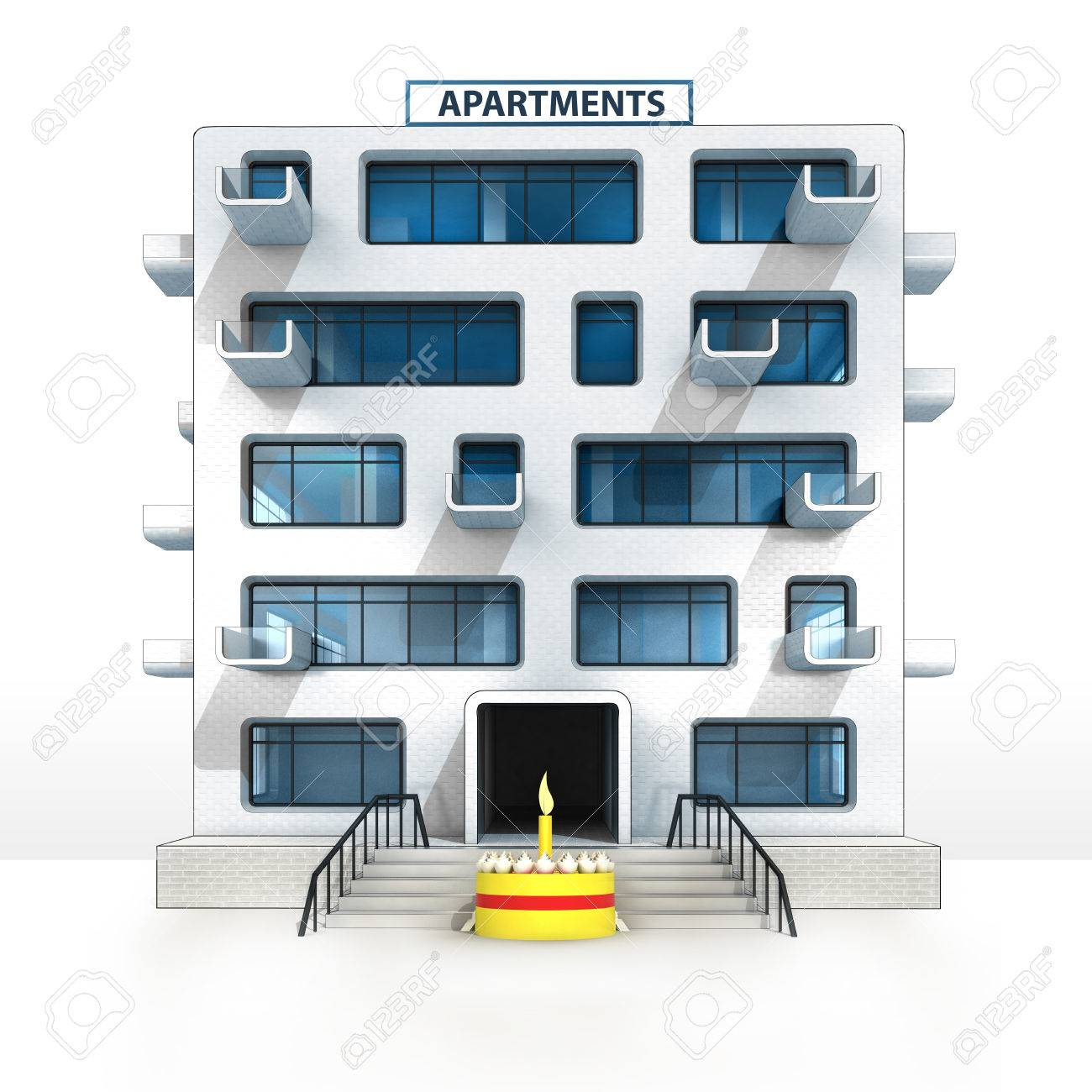 Fancy Cake In Front Of Isolated Apartment Building Illustration