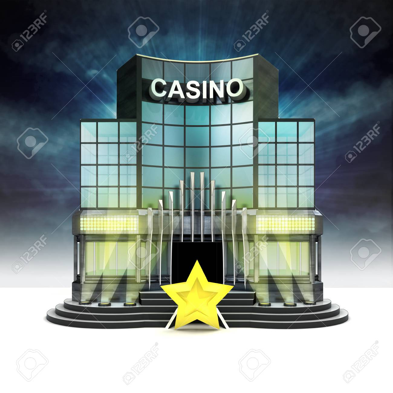 top rating star in front of illuminated casino at night illustration Stock Photo - 28538304