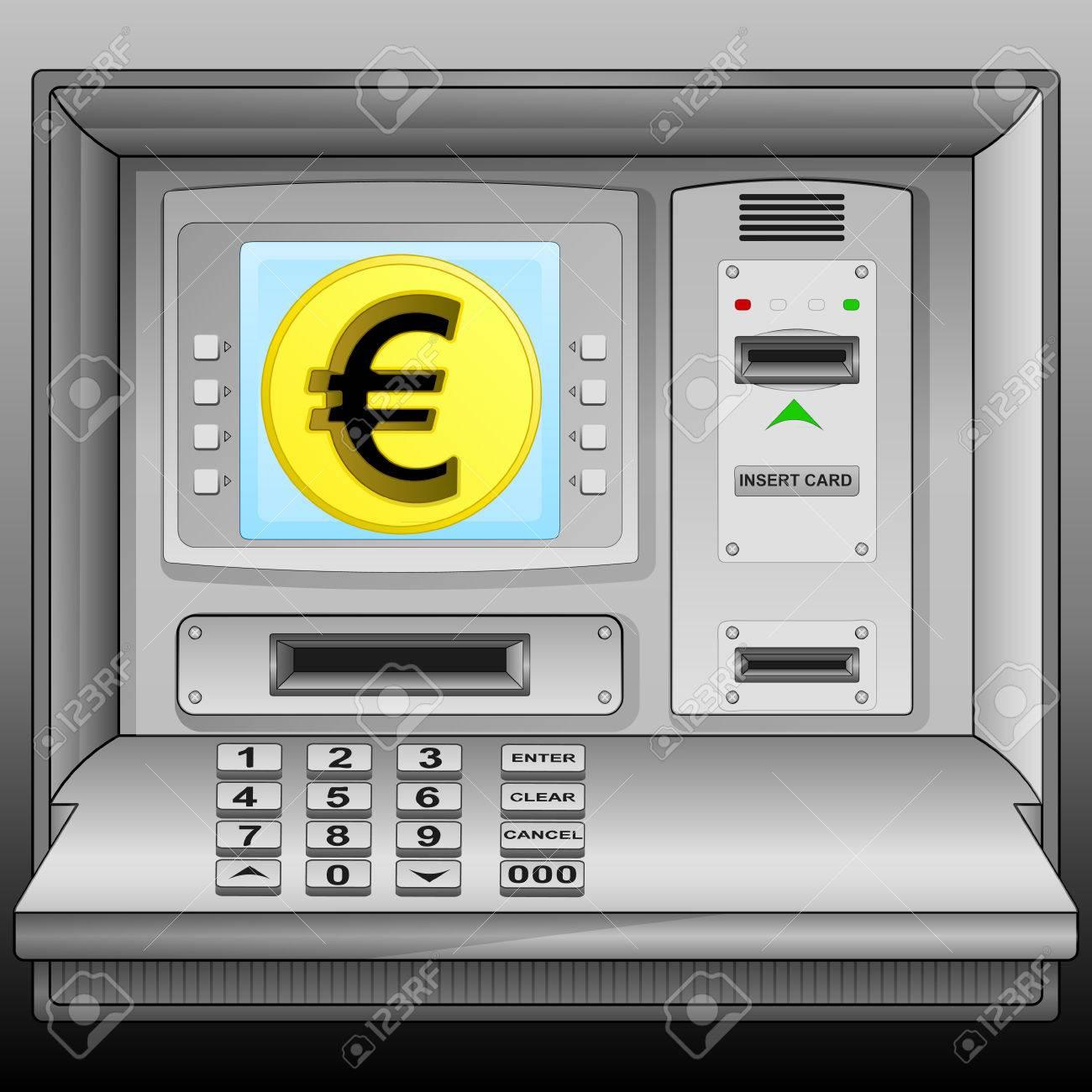 golden Euro coin on cash machine blue screen vector illustration Stock Vector - 28731420