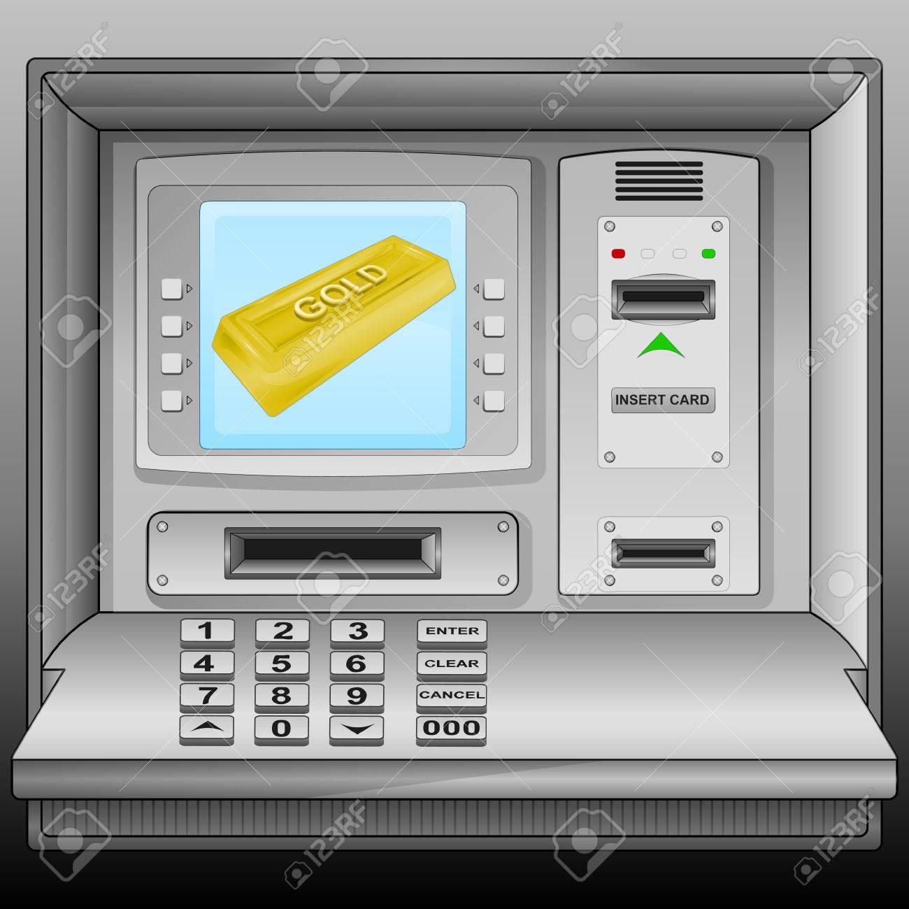 golden bar on cash machine blue screen vector illustration Stock Vector - 28736552